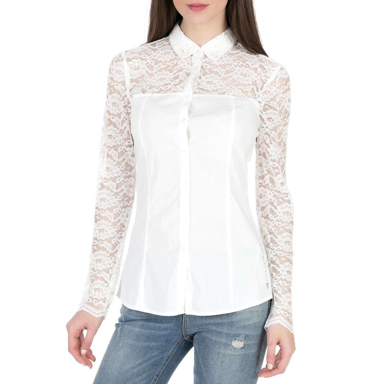 GUESS – Γυναικείο μακρυμάνικο πουκάμισο με δαντέλα Guess LS BRANDIE λευκό