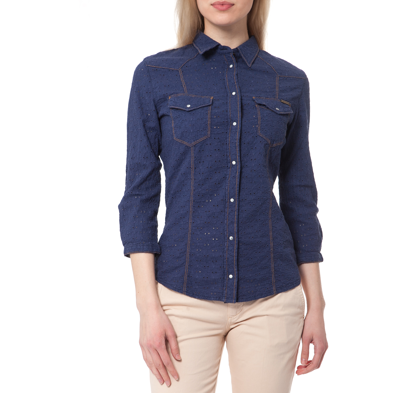 GUESS - Γυναικείο πουκάμισο Guess μπλε γυναικεία ρούχα πουκάμισα μακρυμάνικα