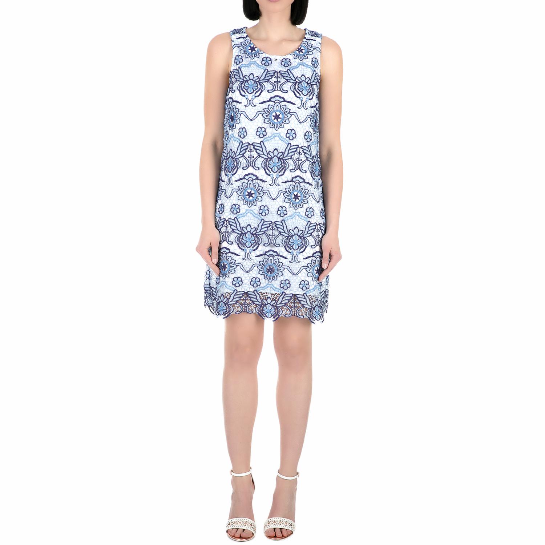 GUESS - Γυναικείο μίνι φόρεμα Guess SELAH BLUE ON BLUE λευκό-μπλε γυναικεία ρούχα φορέματα μίνι