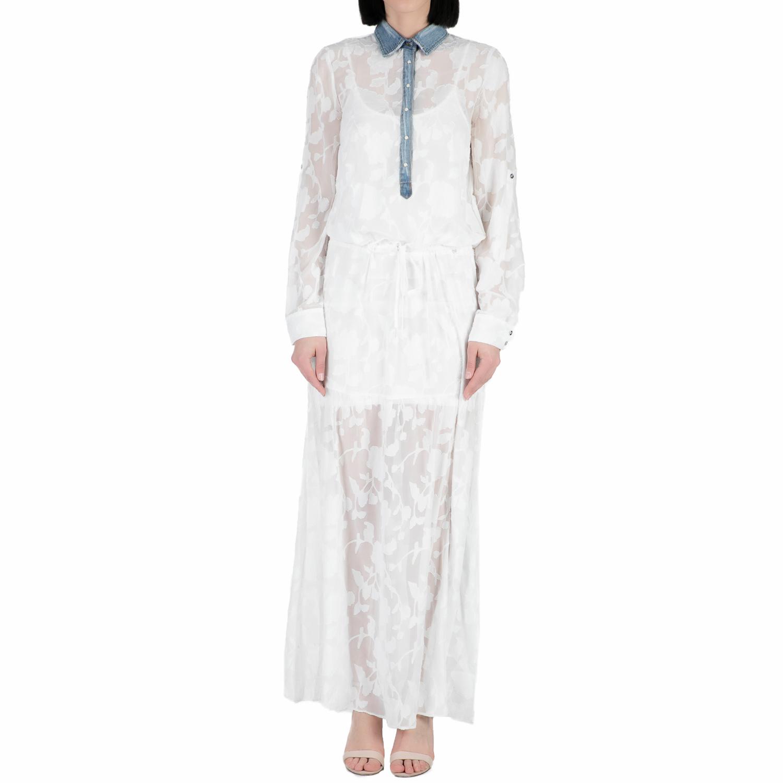 GUESS - Γυναικείο μαξί φόρεμα με ημιδιαφάνεια Guess SHEA - FLOWER λευκό γυναικεία ρούχα φορέματα μάξι