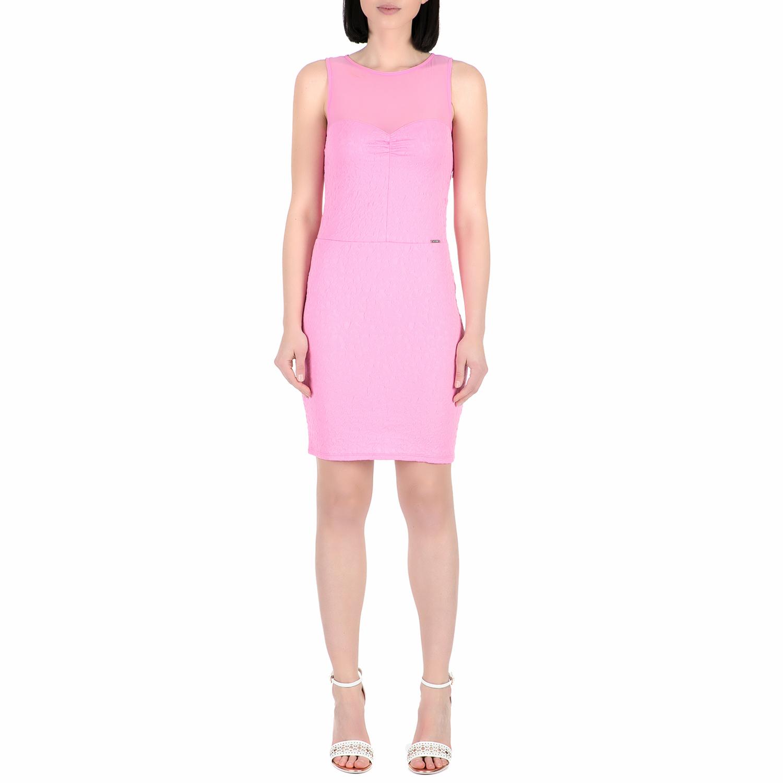 GUESS - Γυναικείο μίνι φόρεμα Guess SHADIA - ANIMAL JACQUARD ροζ γυναικεία ρούχα φορέματα μίνι