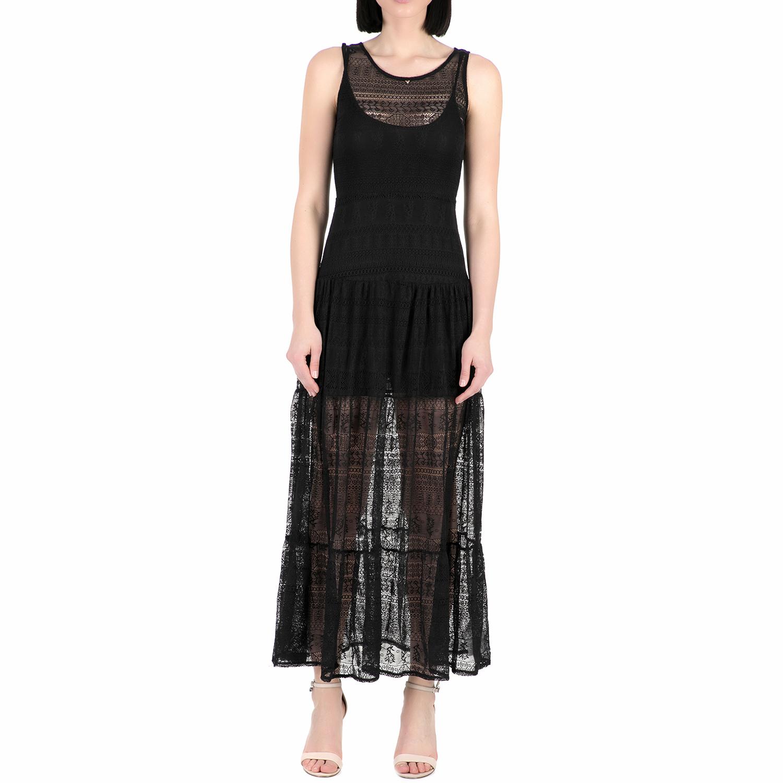 GUESS - Γυναικείο μάξι φόρεμα Guess PAQUITA - SUMMER LACE μαύρο γυναικεία ρούχα φορέματα μάξι