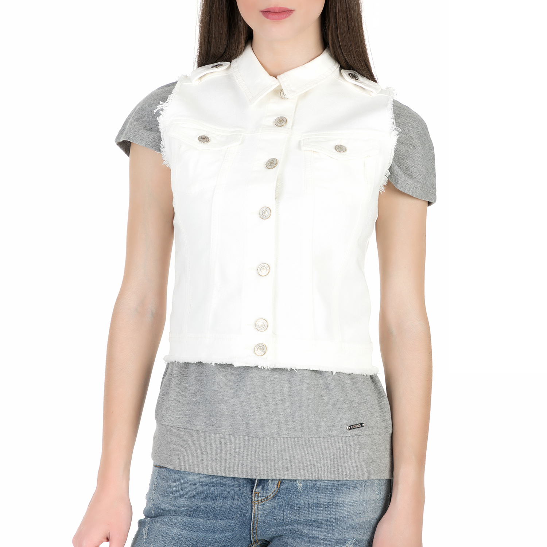 GUESS - Γυναικείο γιλέκο με δαντέλα Guess ZAHARA λευκό γυναικεία ρούχα πανωφόρια τζάκετς