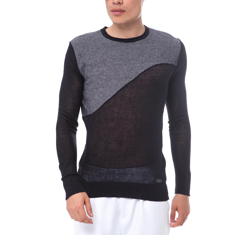 SSEINSE - Ανδρικό πουλόβερ SSEINSE μαύρο-γκρι ανδρικά ρούχα πλεκτά ζακέτες μπλούζες