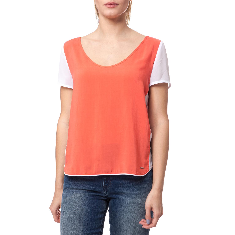 29e05f00472c CALVIN KLEIN JEANS – Γυναικεία μπλούζα Calvin Klein Jeans λευκή-πορτοκαλί