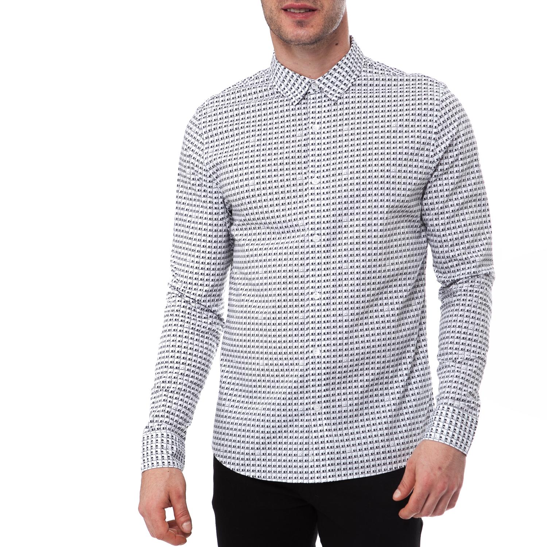 CALVIN KLEIN JEANS - Ανδρικό πουκάμισο Calvin Klein Jeans μαύρο-λευκό ανδρικά ρούχα πουκάμισα μακρυμάνικα