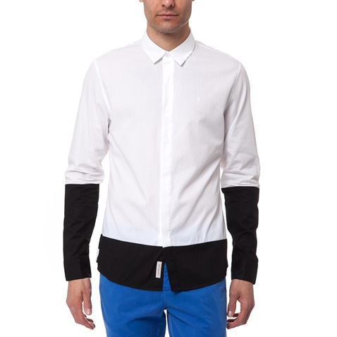 ce97e7c144db Ανδρικό πουκάμισο Calvin Klein Jeans λευκό-μαύρο (1447421.0-0091 ...