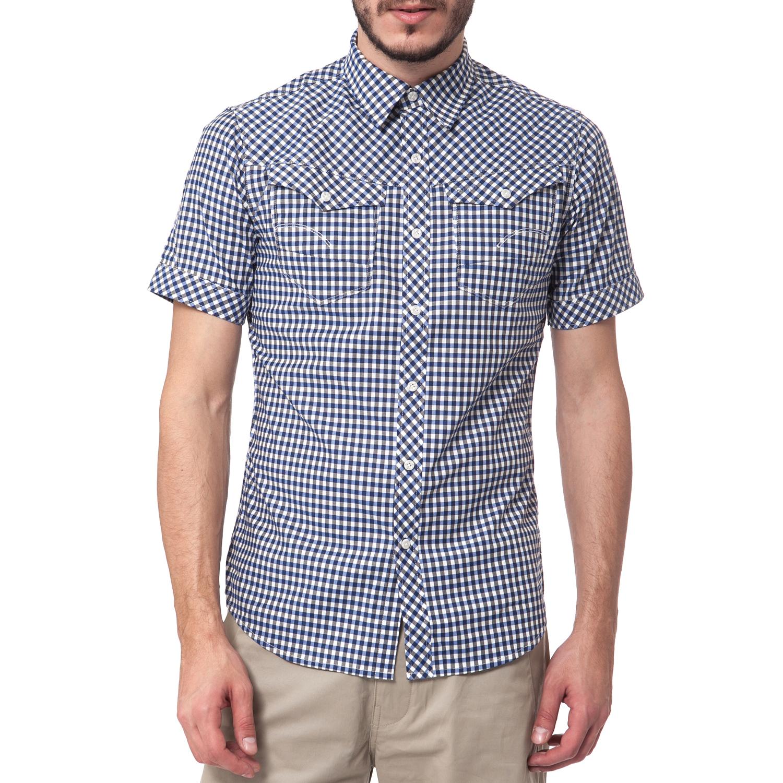 G-STAR RAW - Ανδρικό πουκάμισο G-Star Raw μπλε ανδρικά ρούχα πουκάμισα κοντομάνικα αμάνικα