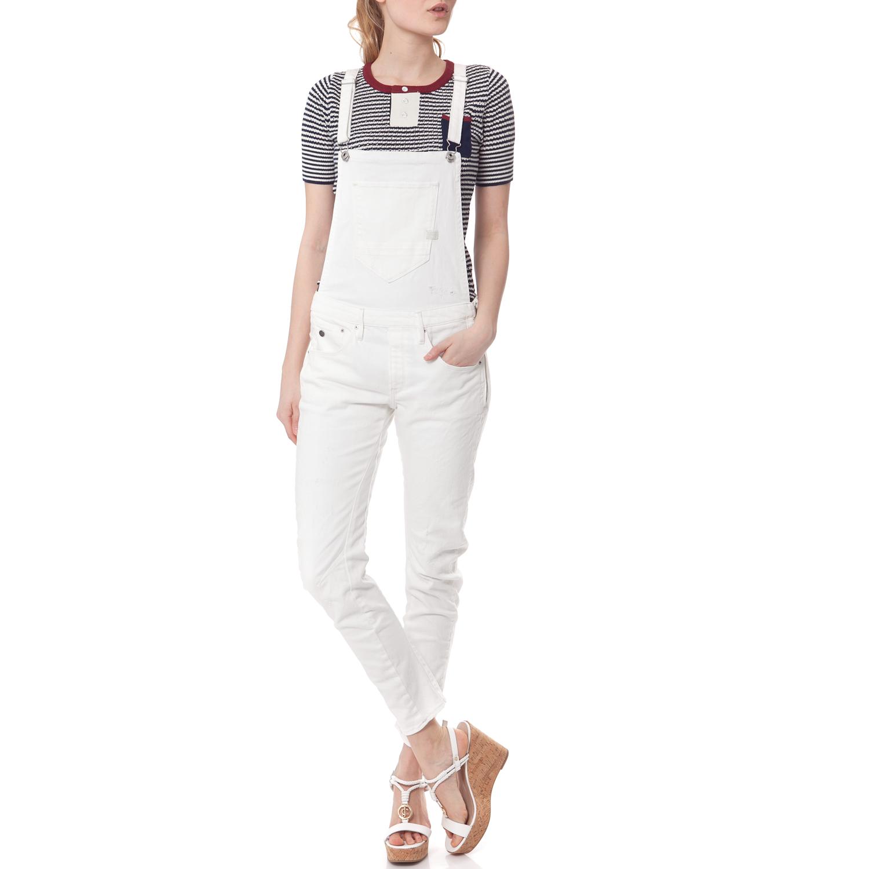 G-STAR - Ολόσωμη φόρμα G-STAR RAW λευκή γυναικεία ρούχα ολόσωμες φόρμες