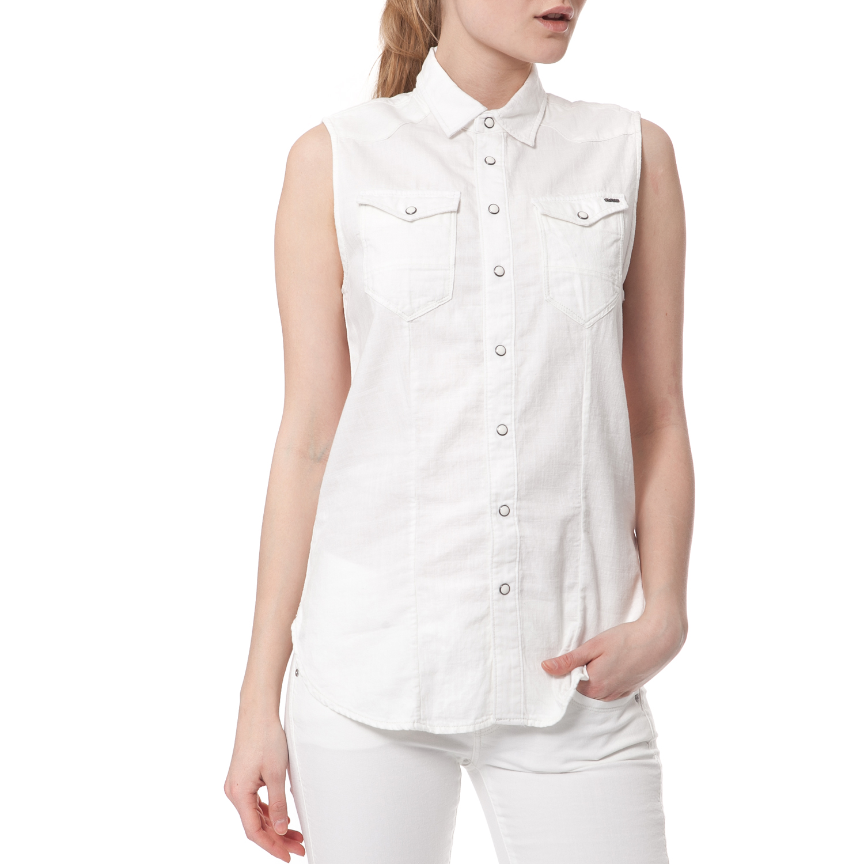 G-STAR - Γυναικείο πουκάμισο G-STAR RAW λευκό γυναικεία ρούχα πουκάμισα κοντομάνικα αμάνικα