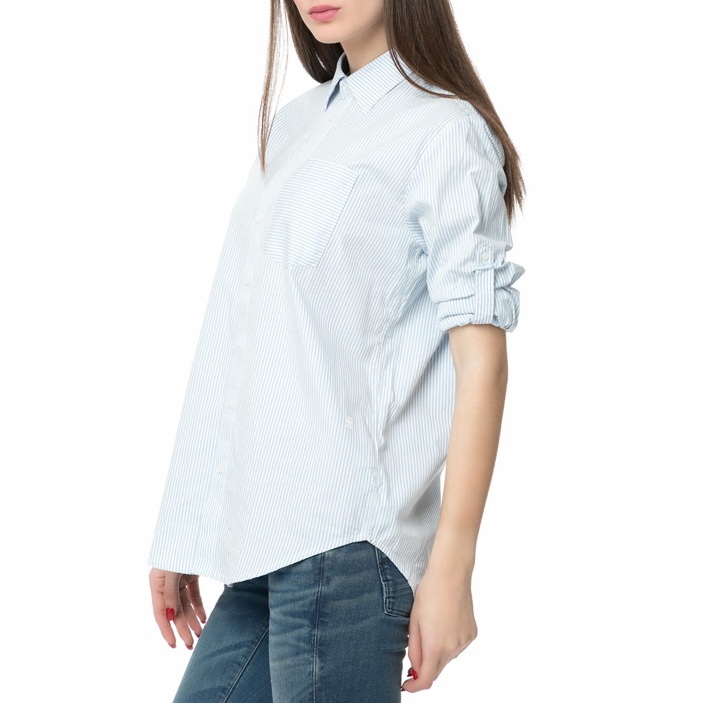 80792e2c3cbf G-STAR RAW - Γυναικείο μακρυμάνικο ριγέ πουκάμισο Core bf pkt shirt λευκό- γαλάζιο