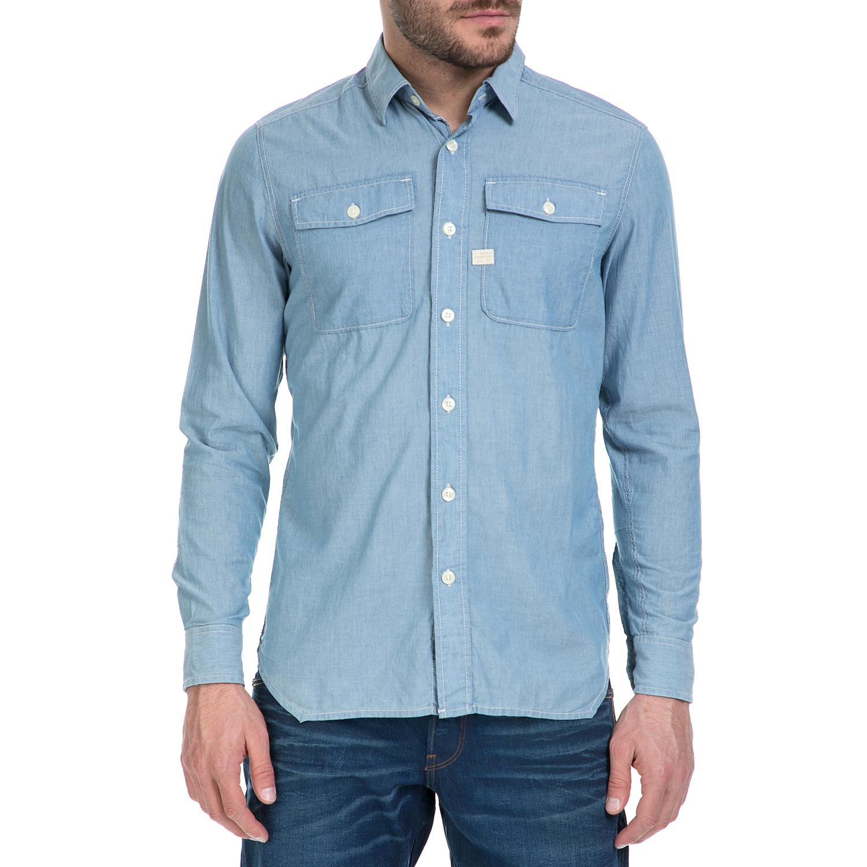 G-STAR RAW - Ανδρικό μακρυμάνικο πουκάμισο G-Star Raw Landoh Army γαλάζιο ανδρικά ρούχα πουκάμισα μακρυμάνικα