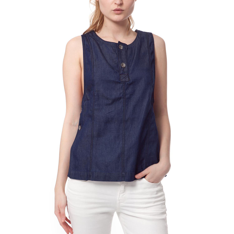 G-STAR - Τζιν αμάνικο πουκάμισο G-STAR RAW μπλε γυναικεία ρούχα πουκάμισα κοντομάνικα αμάνικα