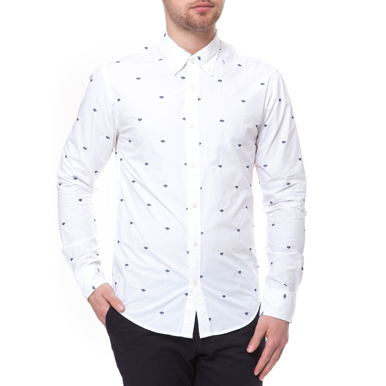 SCOTCH & SODA - Ανδρικό πουκάμισο Scotch & Soda λευκό ανδρικά ρούχα πουκάμισα μακρυμάνικα