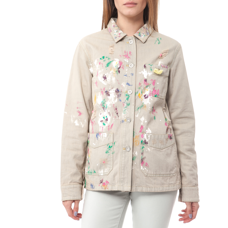 SCOTCH & SODA - Τζιν μπουφάν Maison Scotch εκρού γυναικεία ρούχα πανωφόρια τζάκετς