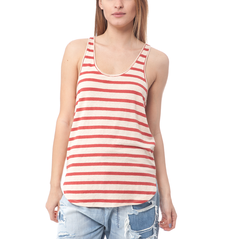 SCOTCH & SODA - Γυναικεία μπλούζα Maison Scotch εκρού-πορτοκαλί γυναικεία ρούχα μπλούζες αμάνικες