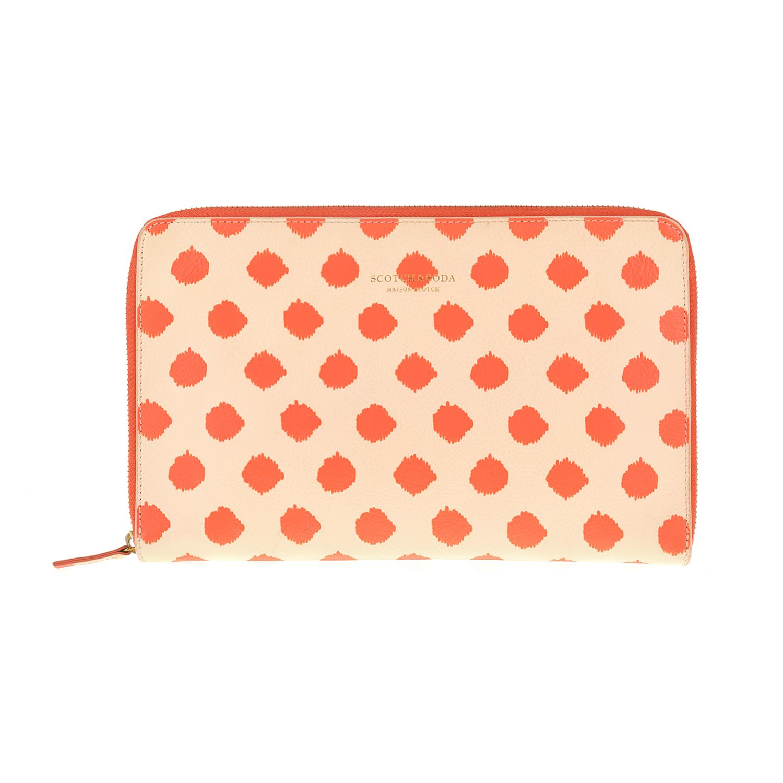 SCOTCH & SODA - Clutch SCOTCH & SODA πορτοκαλί με πουά μοτίβο γυναικεία αξεσουάρ τσάντες σακίδια φάκελοι clutch