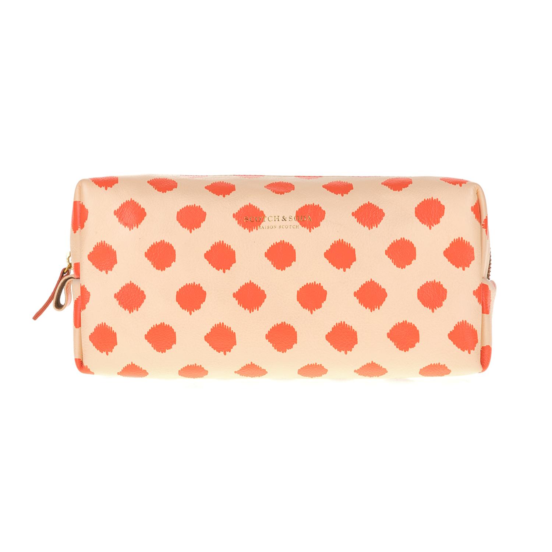 SCOTCH & SODA - Γυναικείο νεσεσέρ SCOTCH & SODA πορτοκαλί με πουά μοτίβο γυναικεία αξεσουάρ τσάντες σακίδια νεσεσέρ