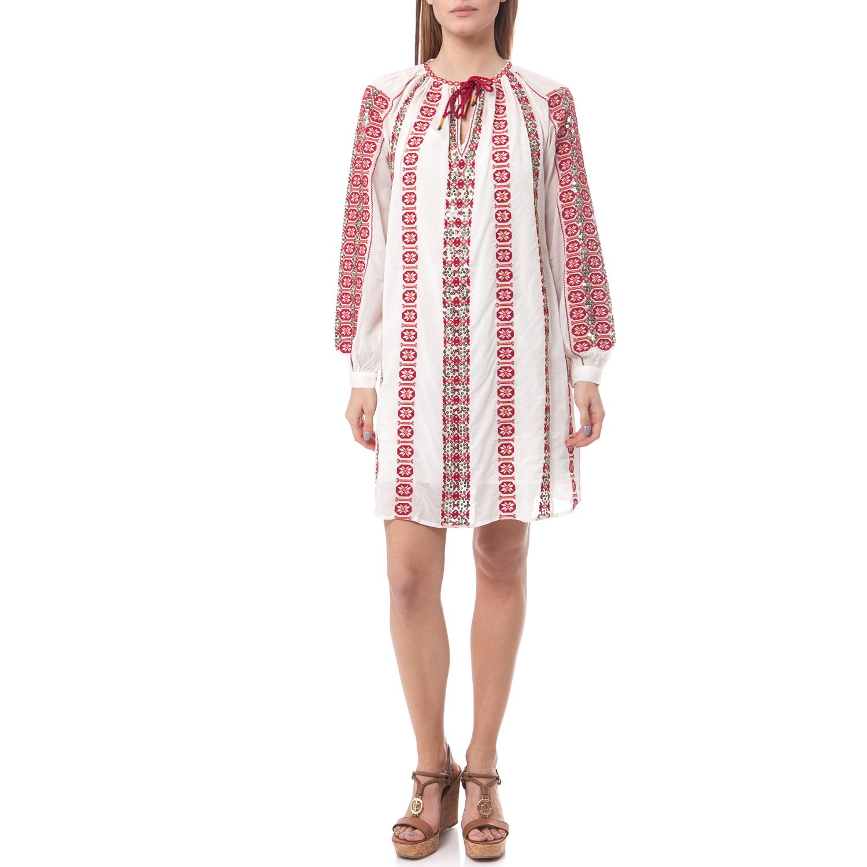 SCOTCH & SODA - Φόρεμα Maison Scotch λευκό-κόκκινο γυναικεία ρούχα φορέματα μίνι