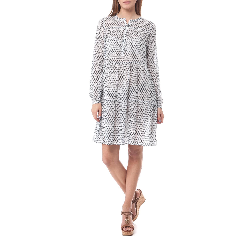 SCOTCH & SODA - Φόρεμα Maison Scotch λευκό-μπλε Βαμβακερό ημιδιάφανο μίνι φόρεμα σε λευκή απόχρωση με μπλε prints και κουμπιά στο μπροστινό πάνω μέρος.