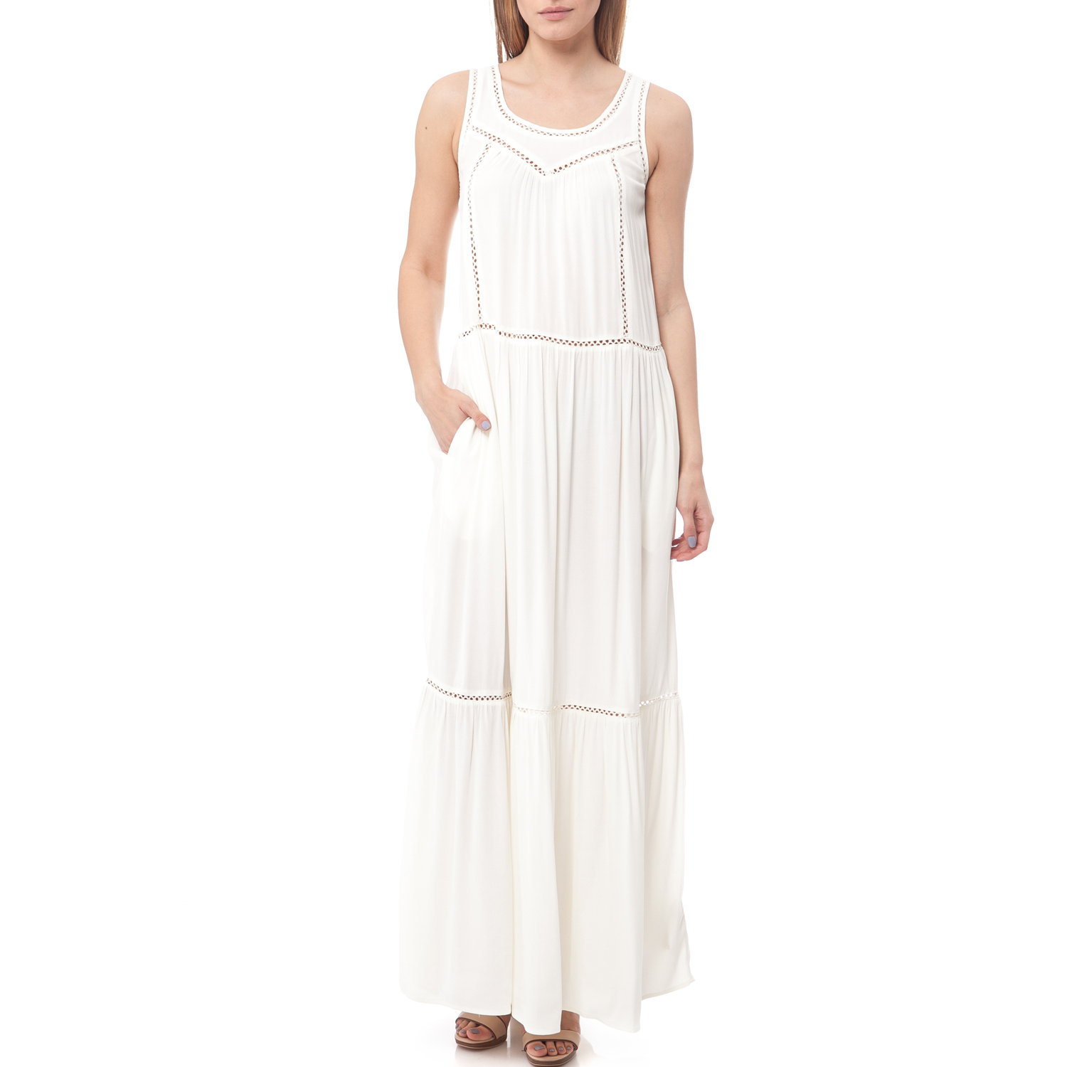 SCOTCH   SODA - Maxi φόρεμα Maison Scotch λευκό 8fcd9760e4f