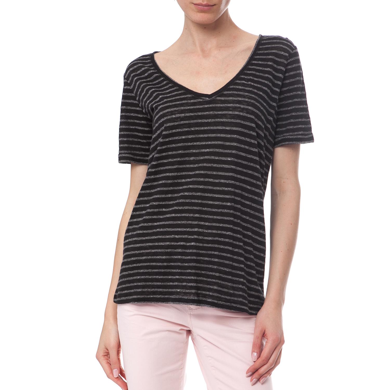 SCOTCH   SODA – Γυναικεία μπλούζα Maison Scotch μαύρη – γκρι 1e8cc119e0e
