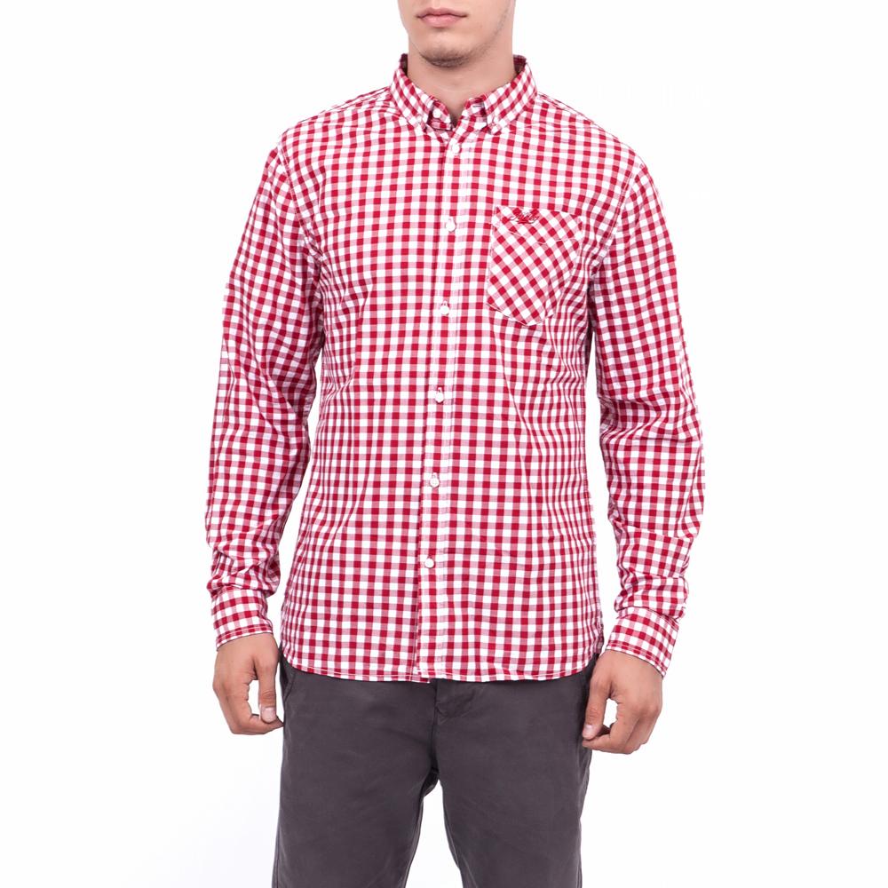 FUNKY BUDDHA - Ανδρικό πουκάμισο Funky Buddha κόκκινο-λευκό ... 221469a8bf4