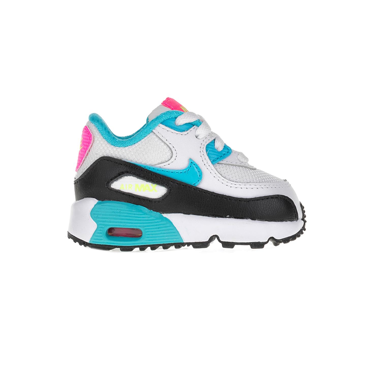NIKE – Βρεφικά αθλητικά παπούτσια NIKE AIR MAX 90 MESH (PS) λευκά-τιρκουάζ