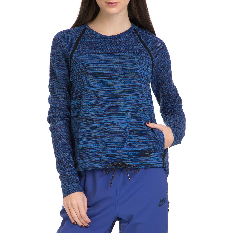 NIKE - Γυναικεία μπλούζα NIKE TECH KNIT μαύρη-μπλε γυναικεία ρούχα αθλητικά φούτερ μακρυμάνικα