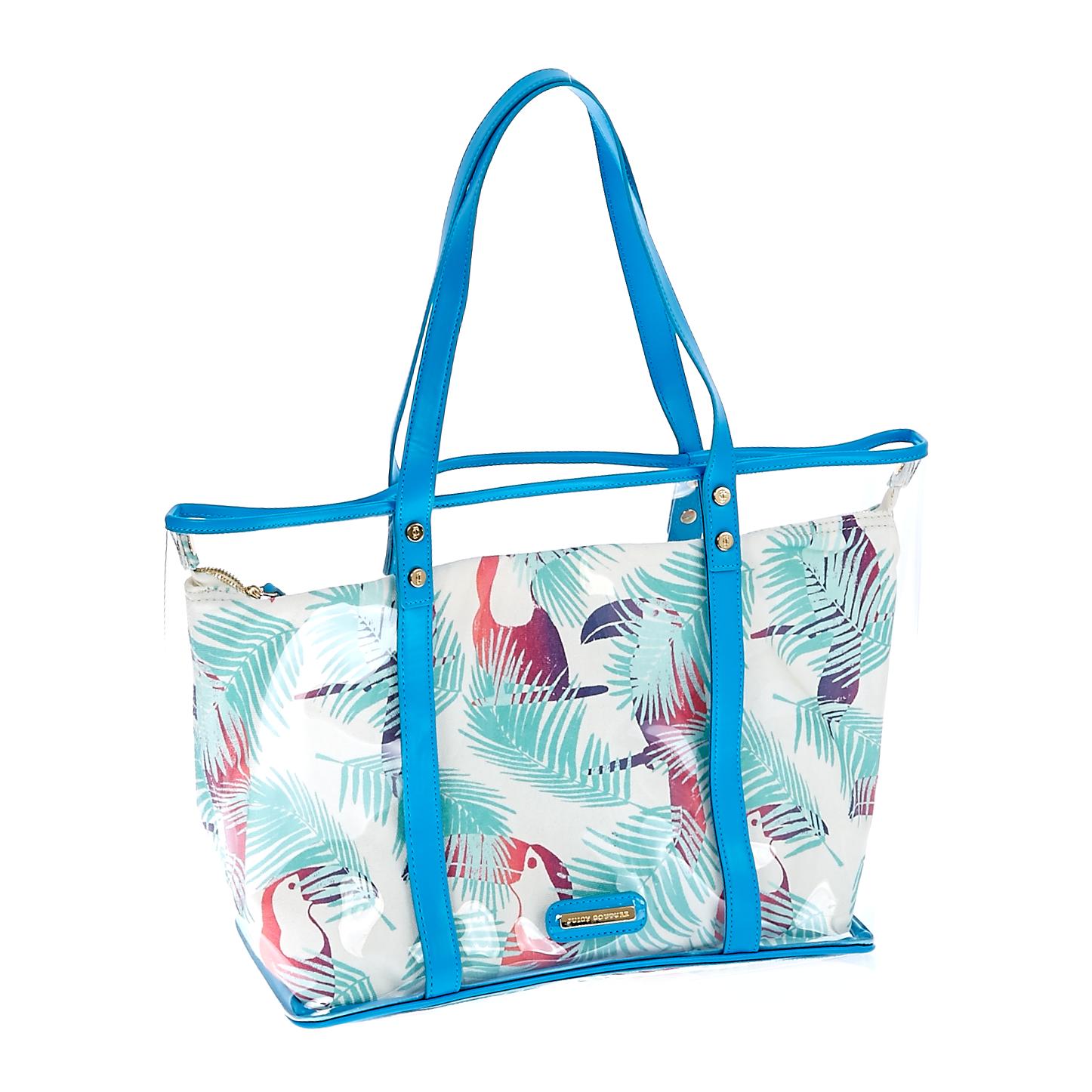 JUICY COUTURE - Γυναικεία τσάντα Juicy Couture μπλε-λευκή γυναικεία αξεσουάρ τσάντες σακίδια χειρός