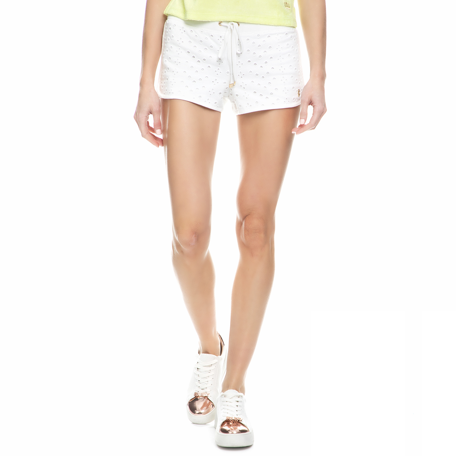 JUICY COUTURE – Γυναικείο σορτς french terry eyelet Juicy Couture λευκό