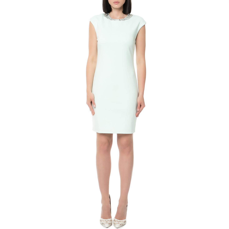 TED BAKER - Γυναικείο μίνι φόρεμα BETIANA EMBELLISHED BODYCON λευκό γυναικεία ρούχα φορέματα μίνι