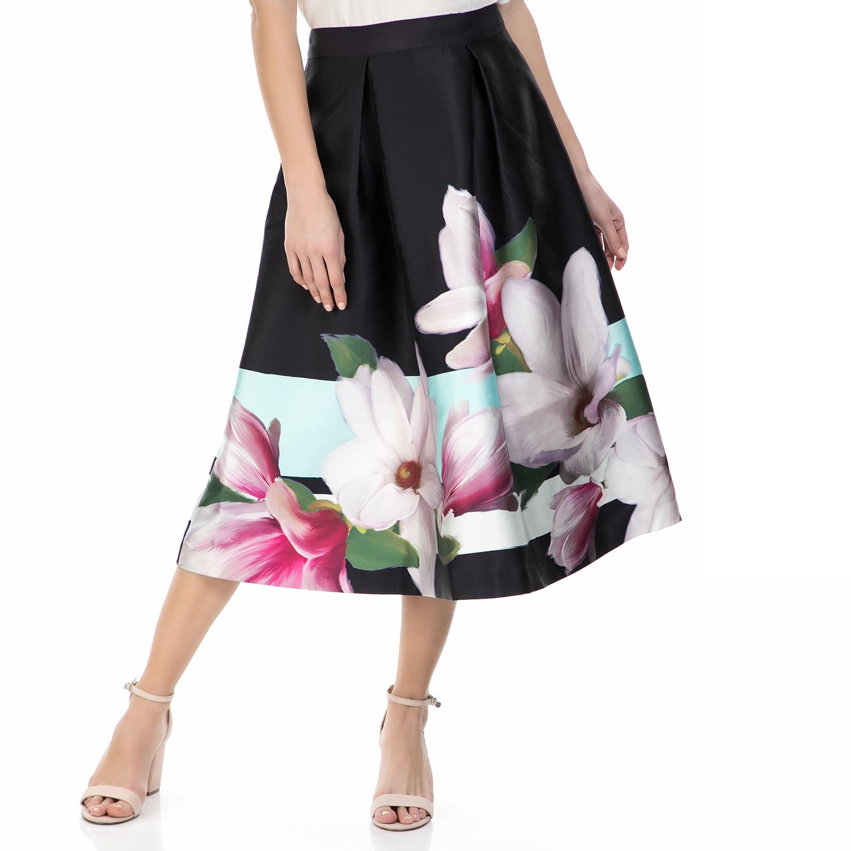 TED BAKER - Midi φούστα Ted Baker Mangolia stripe μαύρη φλοράλ γυναικεία ρούχα φούστες μέχρι το γόνατο