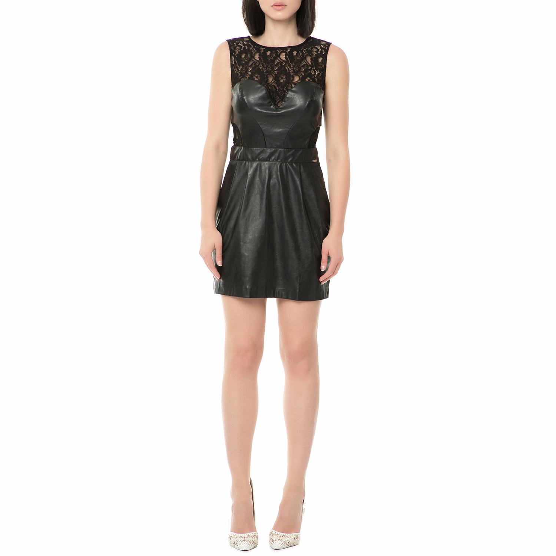 GUESS - Γυναικείο μίνι φόρεμα DIONNE - FAUX STRETCH μαύρο με δαντέλα eca9ca911dc