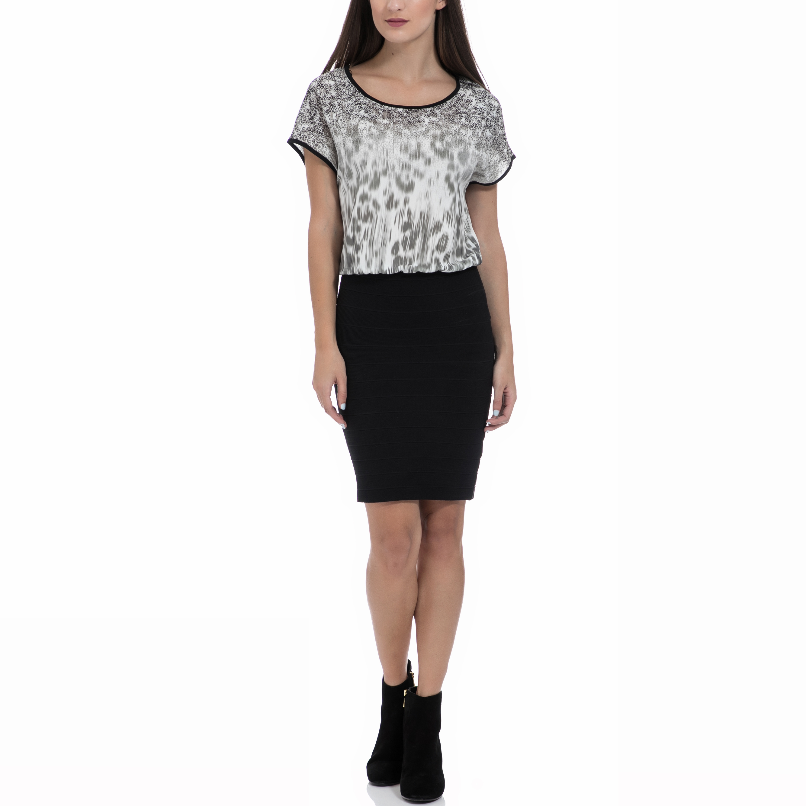 GUESS - Γυναικείο φόρεμα GUESS μαύρο γυναικεία ρούχα φορέματα μέχρι το γόνατο
