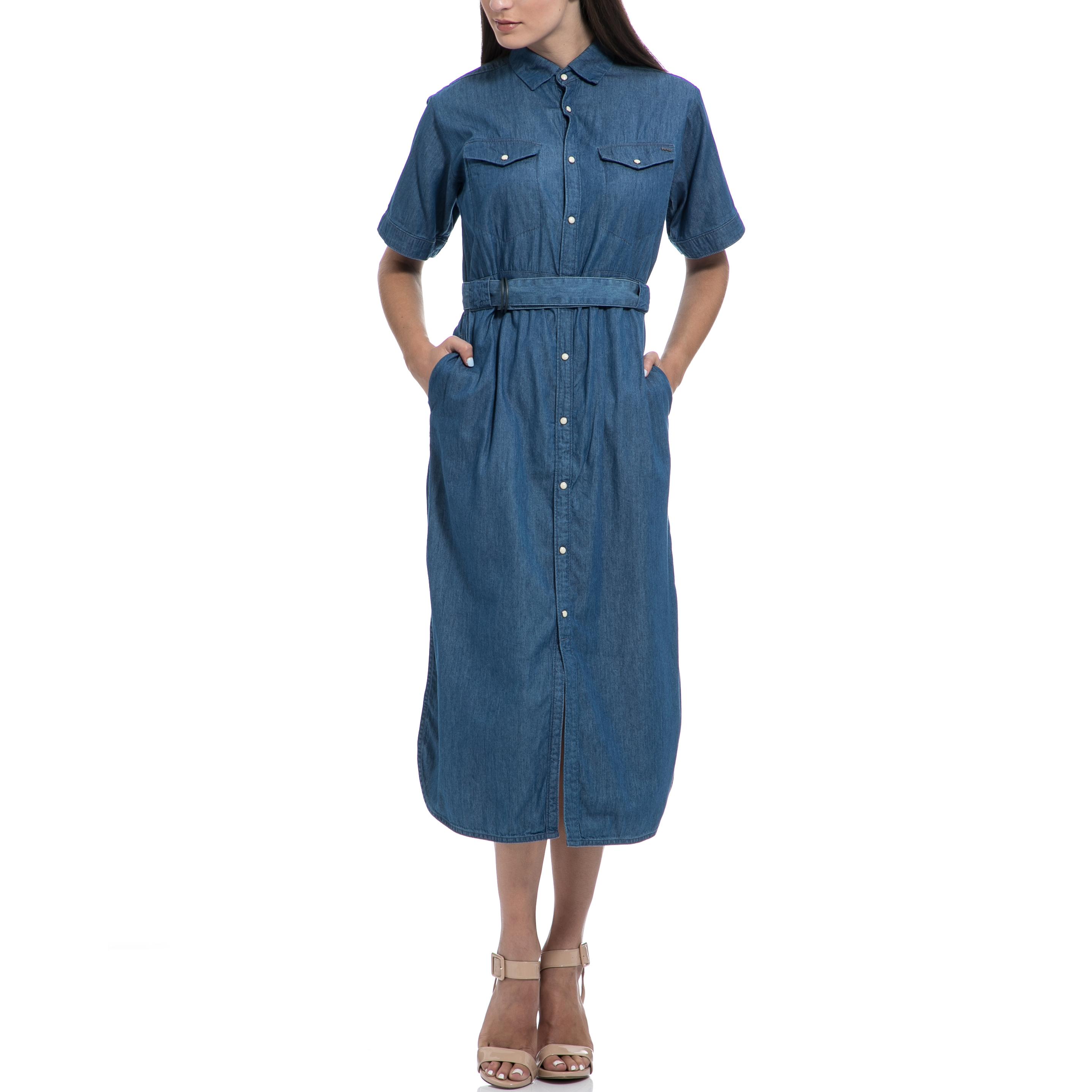 G-STAR RAW - Γυναικείο φόρεμα G-STAR RAW μπλε γυναικεία ρούχα φορέματα μάξι