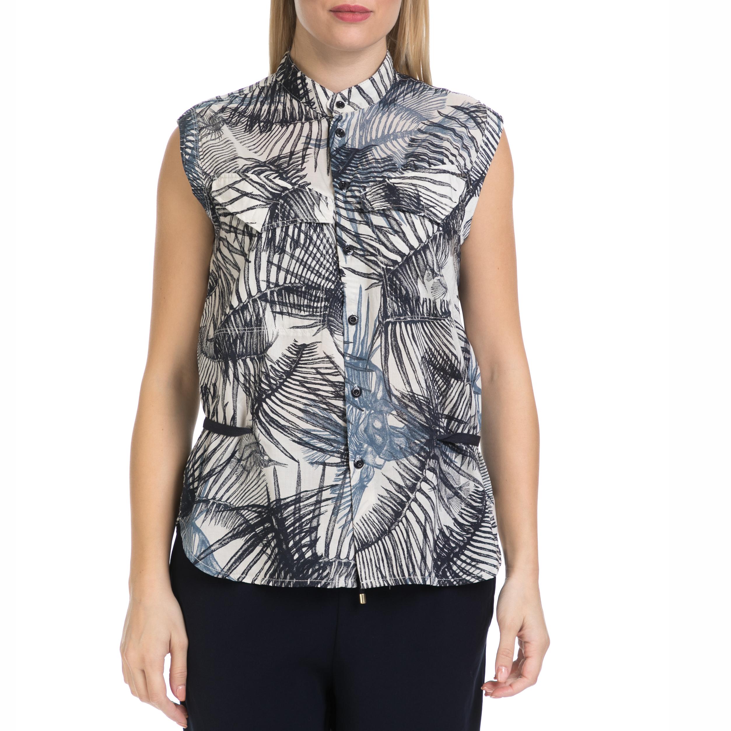 G-STAR - Γυναικείο αμάνικο πουκάμισο Rovic G-STAR εμπριμέ γυναικεία ρούχα πουκάμισα κοντομάνικα αμάνικα