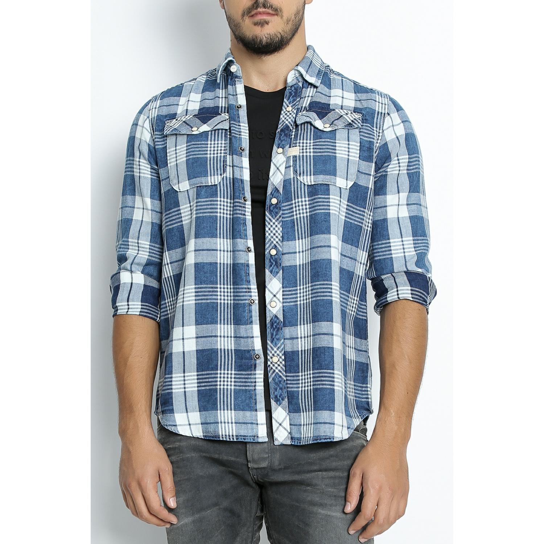 G-STAR RAW - Ανδρικό πουκάμισο G-Star RAW Landoh καρό ανδρικά ρούχα πουκάμισα μακρυμάνικα