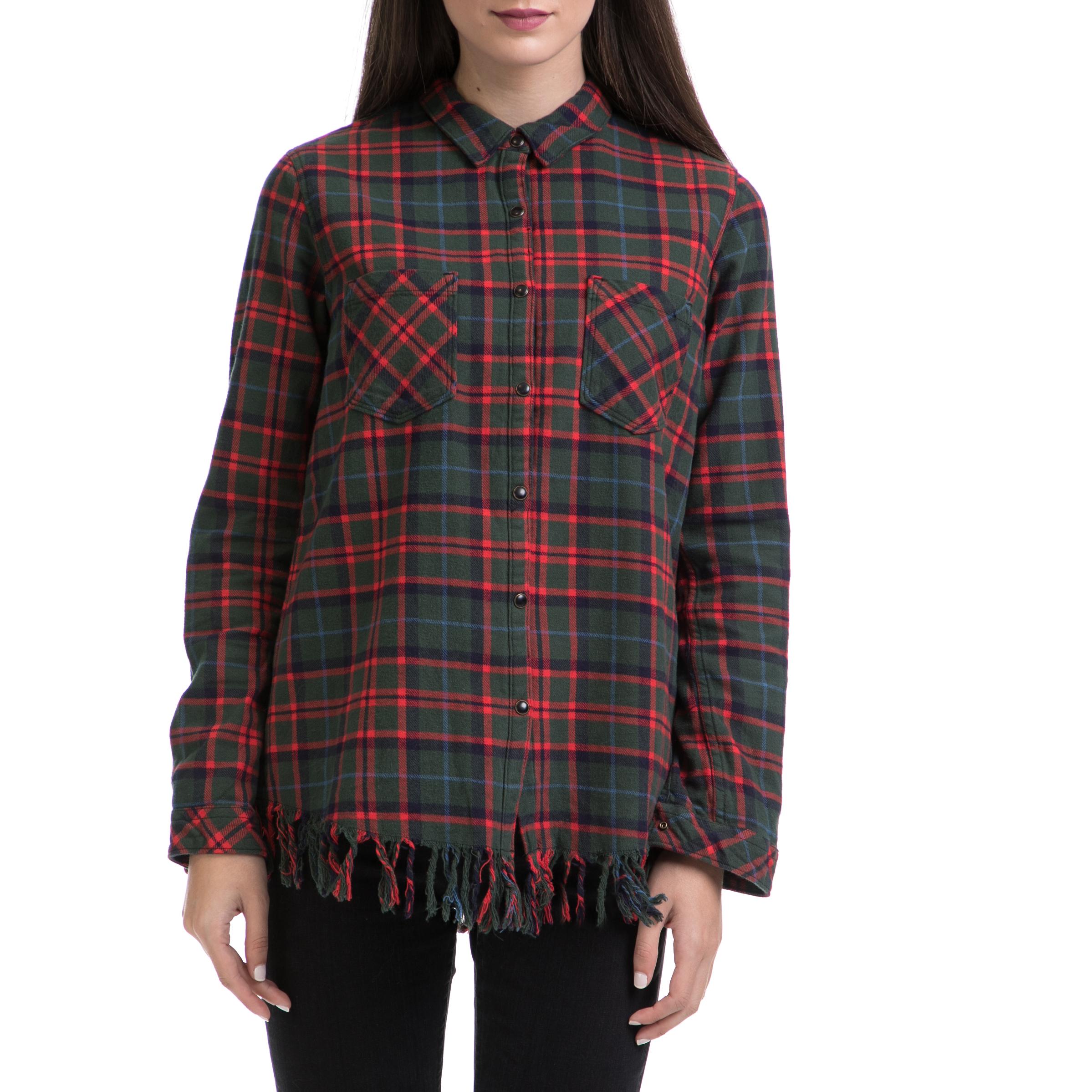 SCOTCH & SODA - Γυναικείο πουκάμισο MAISON SCOTCH κόκκινο-πράσινο γυναικεία ρούχα πουκάμισα μακρυμάνικα