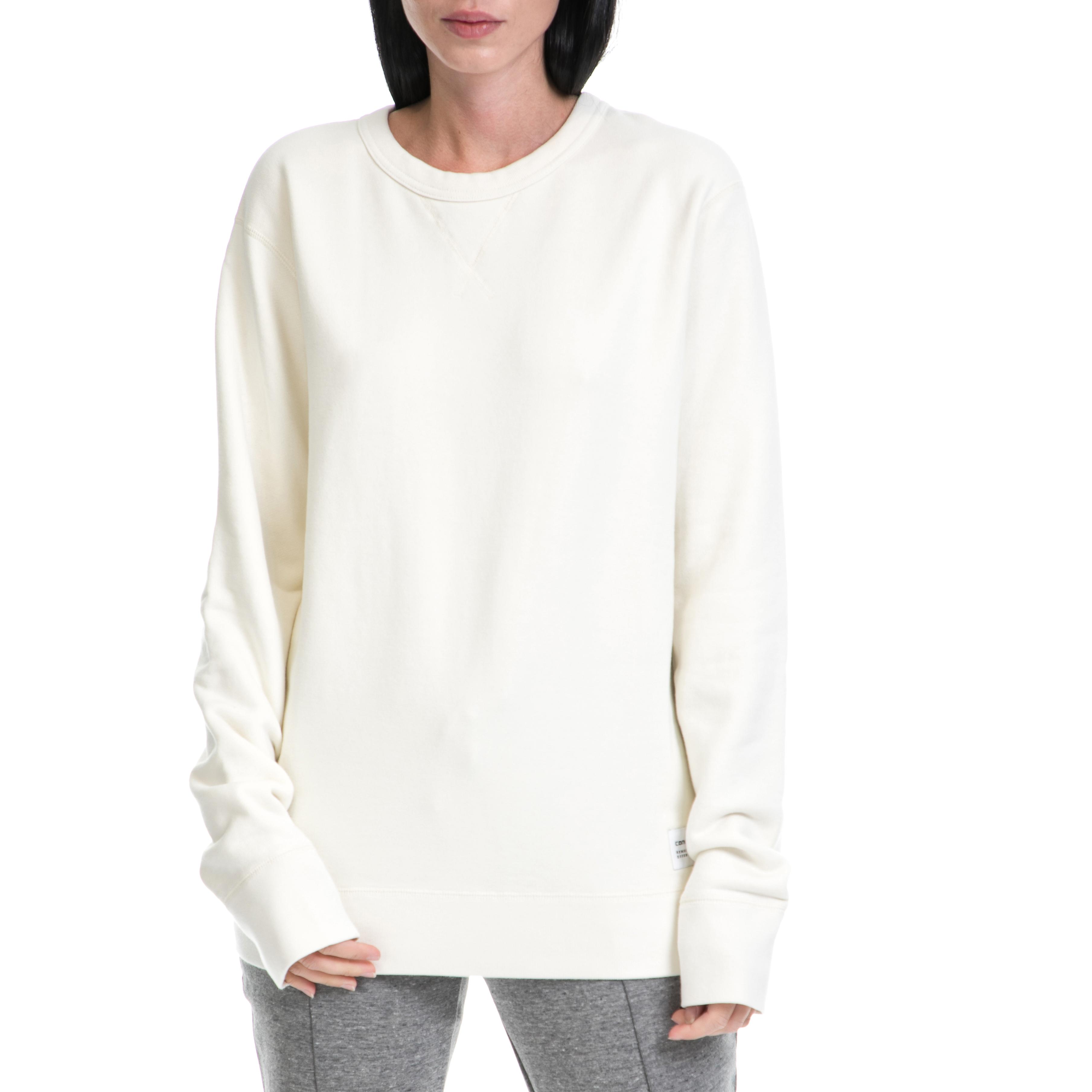 CONVERSE - Γυναικεία μπλούζα φούτερ Converse Essentials Crew λευκή γυναικεία ρούχα αθλητικά φούτερ μακρυμάνικα
