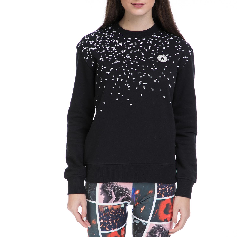 CONVERSE - Γυναικείο φούτερ Converse Black & White Chuck Patch μαύρο γυναικεία ρούχα αθλητικά φούτερ μακρυμάνικα