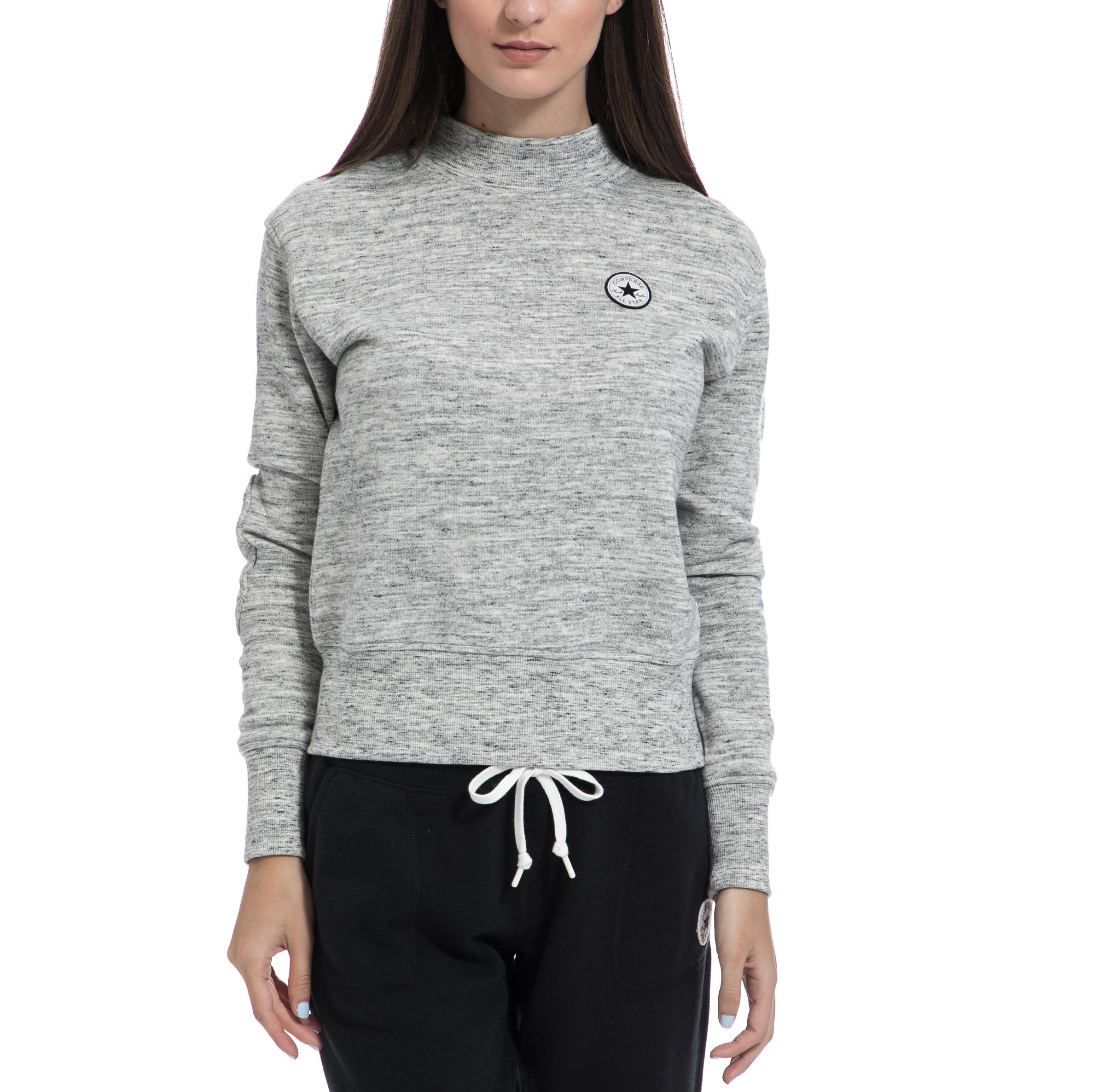 CONVERSE - Γυναικείο φούτερ CONVERSE γκρι γυναικεία ρούχα αθλητικά φούτερ μακρυμάνικα