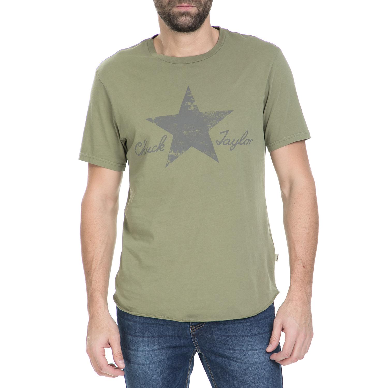 CONVERSE - Κοντομάνικη μπλούζα CONVERSE λαδί ανδρικά ρούχα αθλητικά t shirt