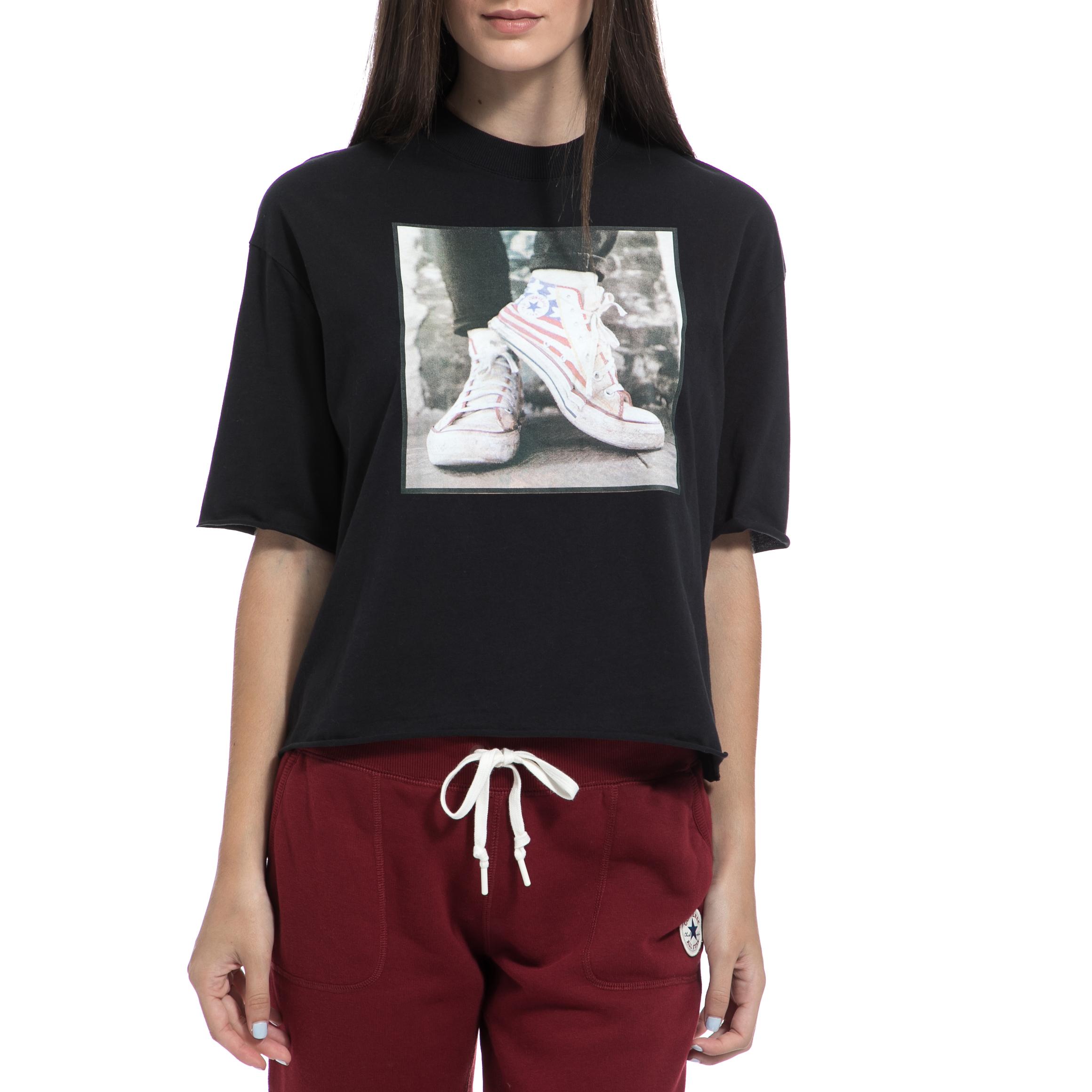 CONVERSE - Γυναικεία μπλούζα CONVERSE μαύρη γυναικεία ρούχα αθλητικά t shirt τοπ