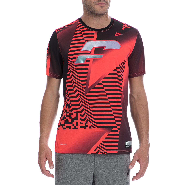 NIKE - Ανδρική μπλούζα NIKE κόκκινη-μαύρη ανδρικά ρούχα αθλητικά t shirt