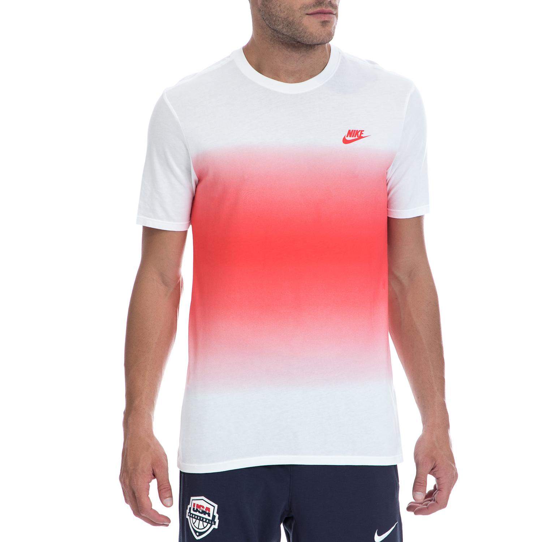 NIKE - Ανδρική μπλούζα NIKE λευκή-κόκκινη ανδρικά ρούχα αθλητικά t shirt