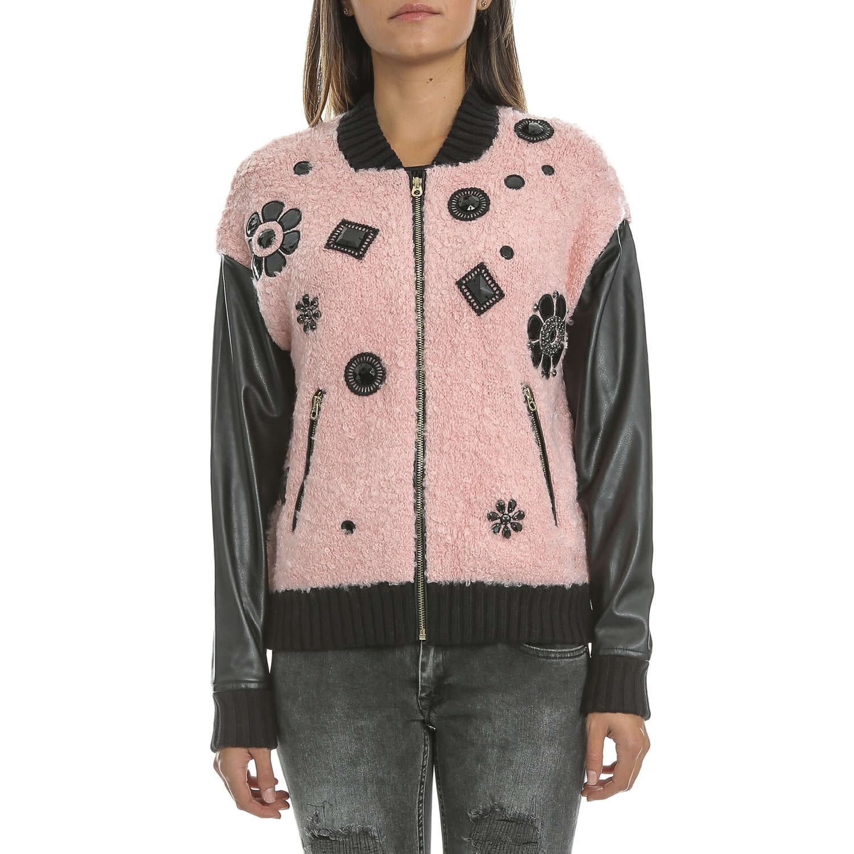 JUICY COUTURE - Γυναικείο jacket JUICY BOUCLE μαύρο-ροζ γυναικεία ρούχα πανωφόρια μπουφάν