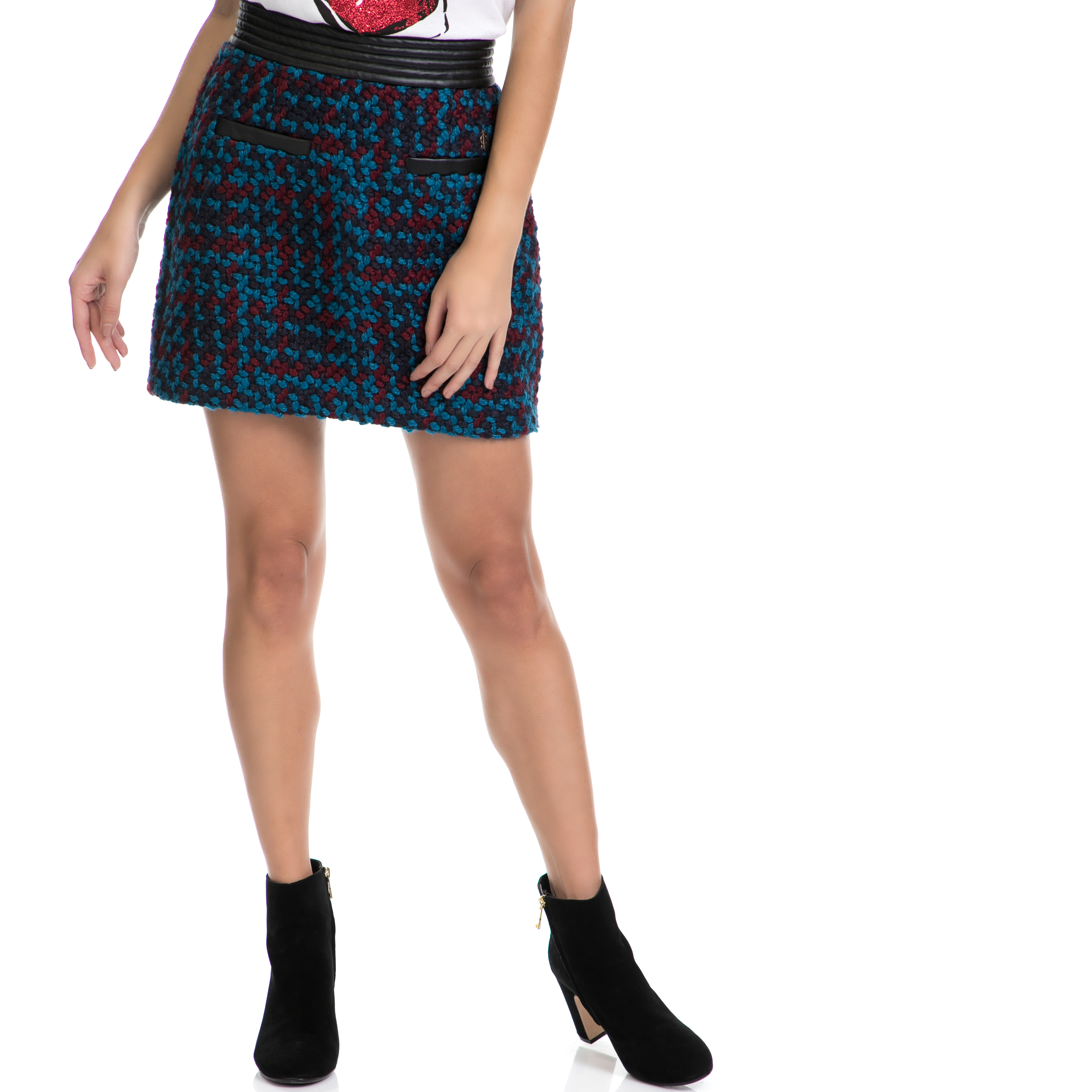 JUICY COUTURE - Γυναικεία φούστα HW CHUNKY TWEED SKIRT μπλε