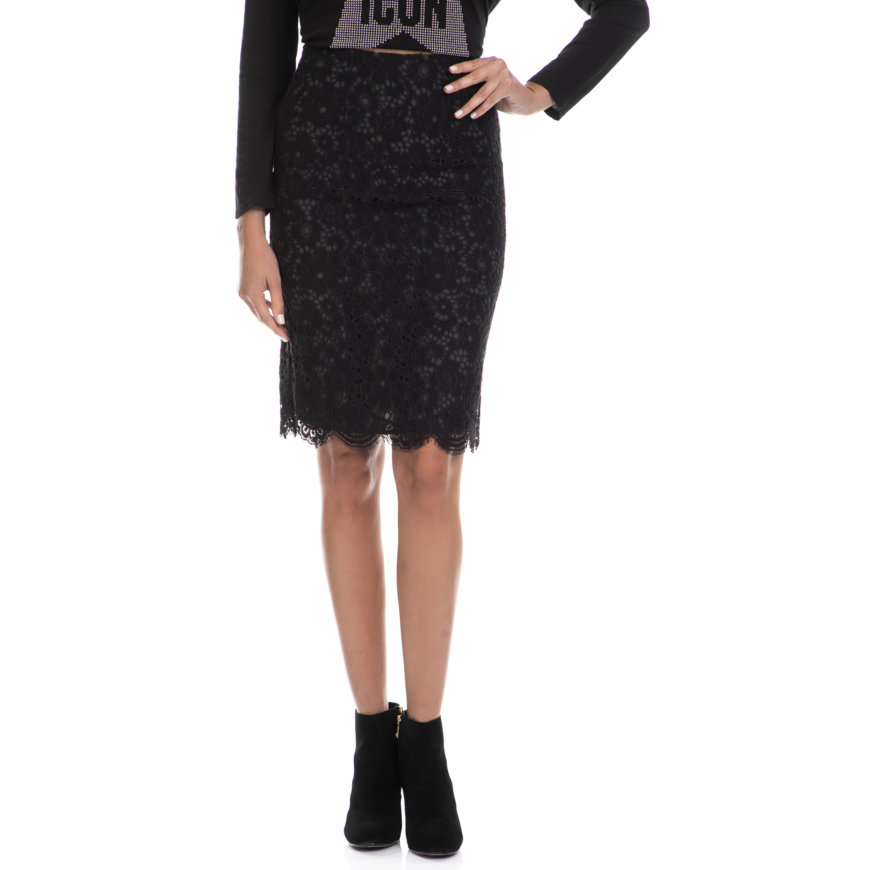 JUICY COUTURE - Γυναικεία midi φούστα JUICY COUTURE BUCHAREST μαύρη