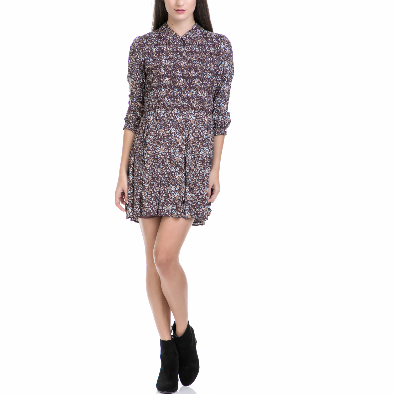 JUICY COUTURE - Γυναικείο mini φόρεμα JUICY COUTURE TIVIOLI FLORAL SMOCKED μπεζ